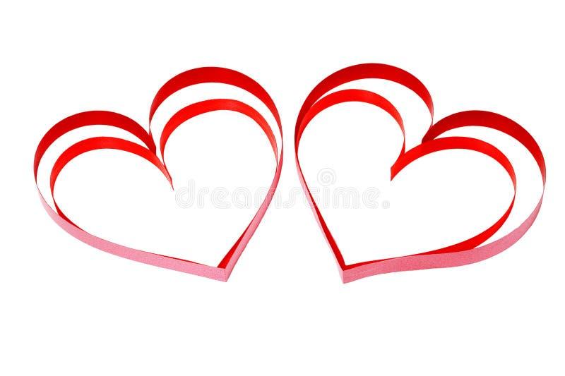 Dos corazones dobles decorativos fotografía de archivo libre de regalías