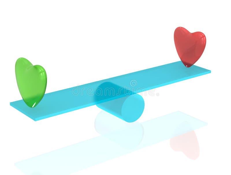 Dos corazones en el balancín ilustración del vector