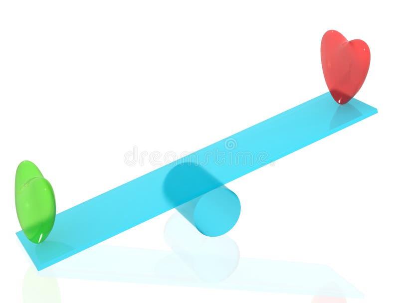 Dos corazones en el balancín stock de ilustración