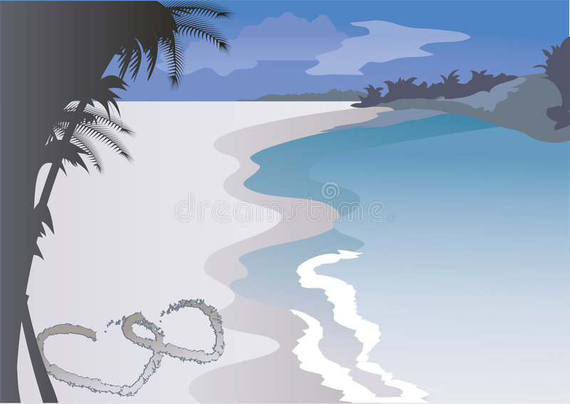 Dos corazones en la arena libre illustration