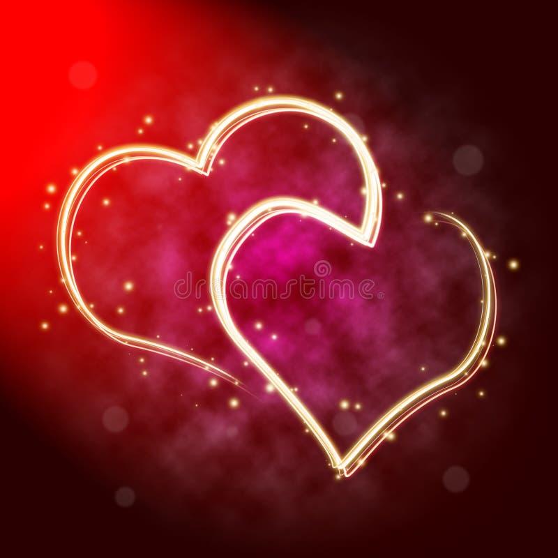 Dos corazones en luces ilustración del vector