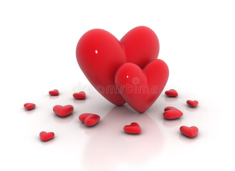 Dos corazones grandes stock de ilustración