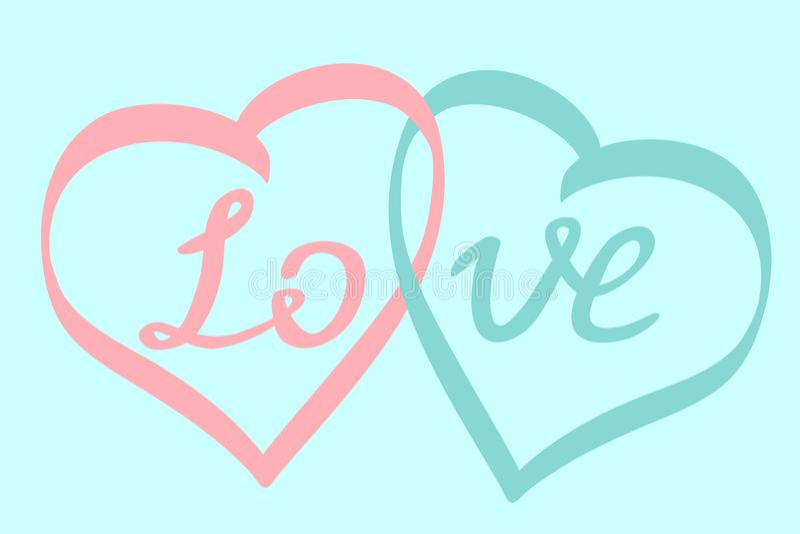 Dos corazones junto y palabra AMOR como símbolo del día de tarjeta del día de San Valentín feliz ilustración del vector
