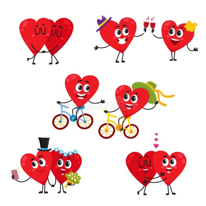 Dos corazones que hacen actividades divertidas juntas, pares en concepto del amor ilustración del vector