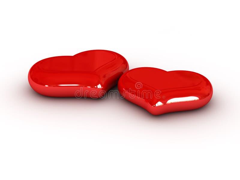 Dos corazones rojos ilustración del vector