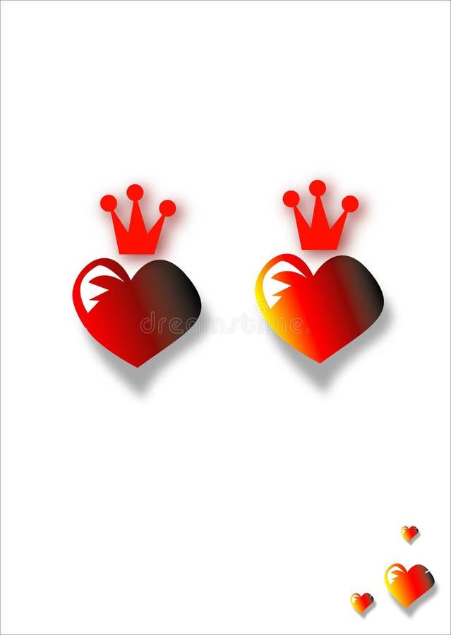 Dos corazones rojos con las coronas ilustración del vector