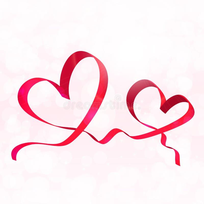 Dos corazones rojos de la cinta Vector del fondo del día de tarjetas del día de San Valentín ilustración del vector