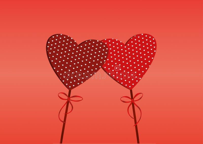 Dos corazones rojos en un palillo con el arco y la cinta Día del `s de la tarjeta del día de San Valentín stock de ilustración