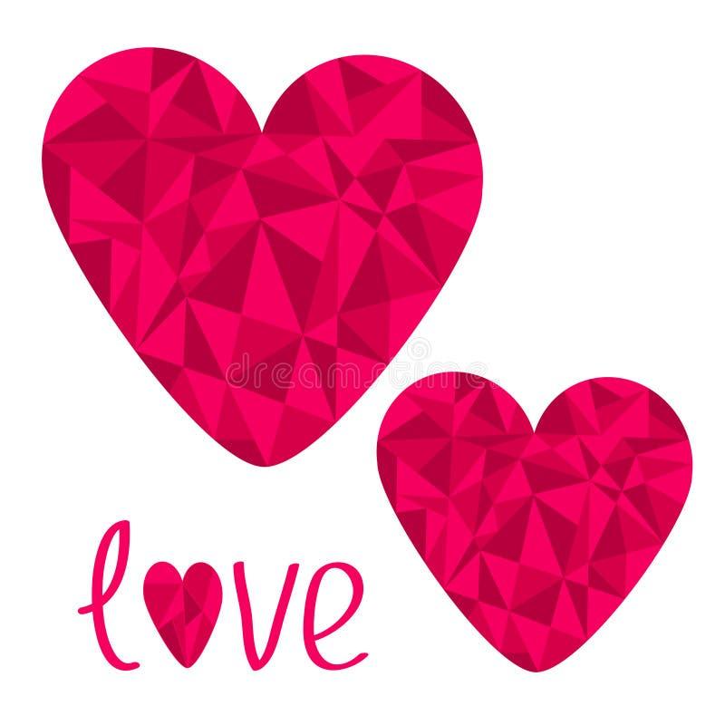 Dos corazones rosados. Efecto poligonal. Tarjeta del amor. Aislado. ilustración del vector