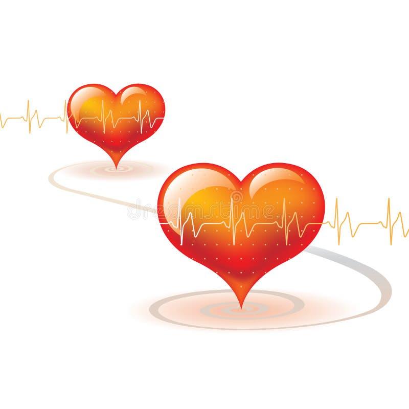 Dos corazones una vida stock de ilustración
