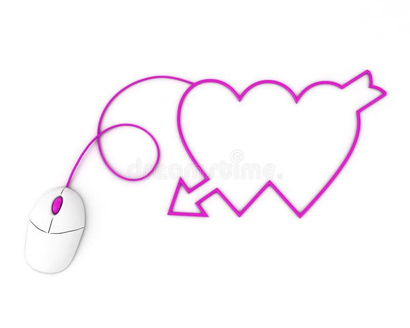 Dos corazones violetas representados por el ratón del ordenador stock de ilustración
