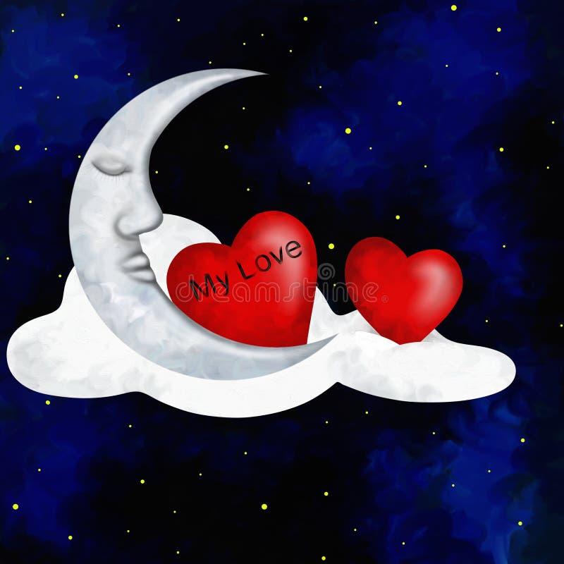Dos corazones y lunas ilustración del vector