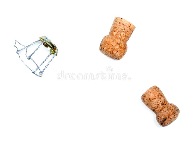 Dos corchos del vino y de los muselets del champán foto de archivo libre de regalías