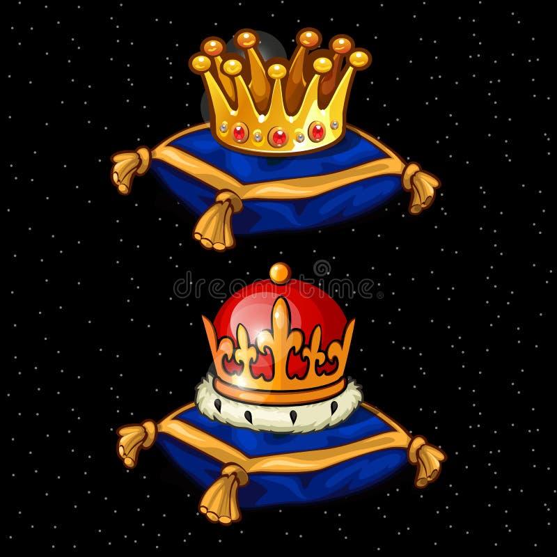 Dos corona real en los cojines, herencia ilustración del vector