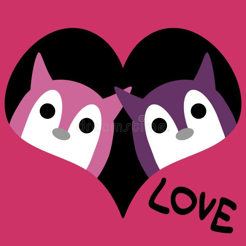 Dos criaturas lindas en amor stock de ilustración