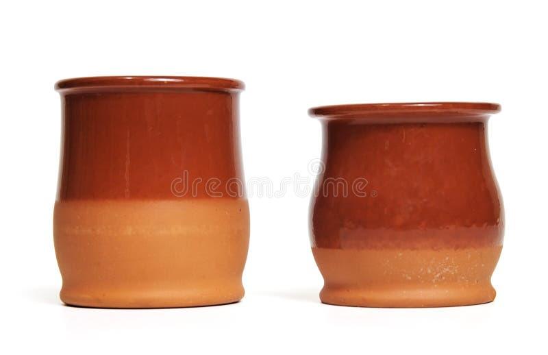 Dos crisoles de cerámica foto de archivo libre de regalías