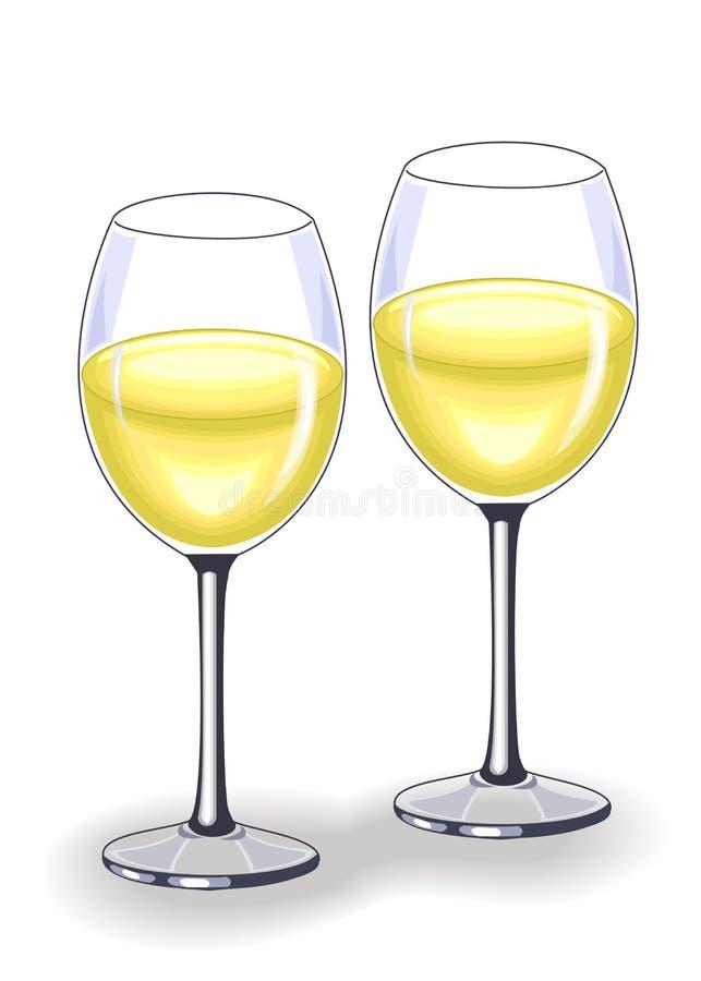 Dos cristales hermosos con el vino blanco delicioso Decoraci?n de la tabla festiva Ilustraci?n del vector stock de ilustración