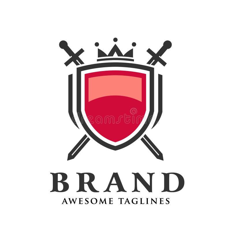_dos cruzar espada, escudo con corona logotipo ilustración del vector