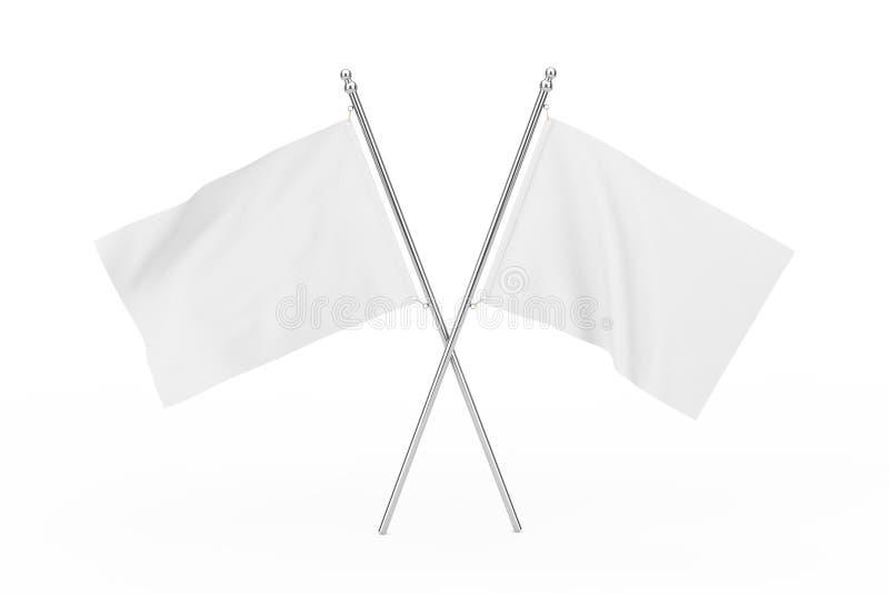 Dos cruzaron las banderas en blanco blancas representación 3d libre illustration