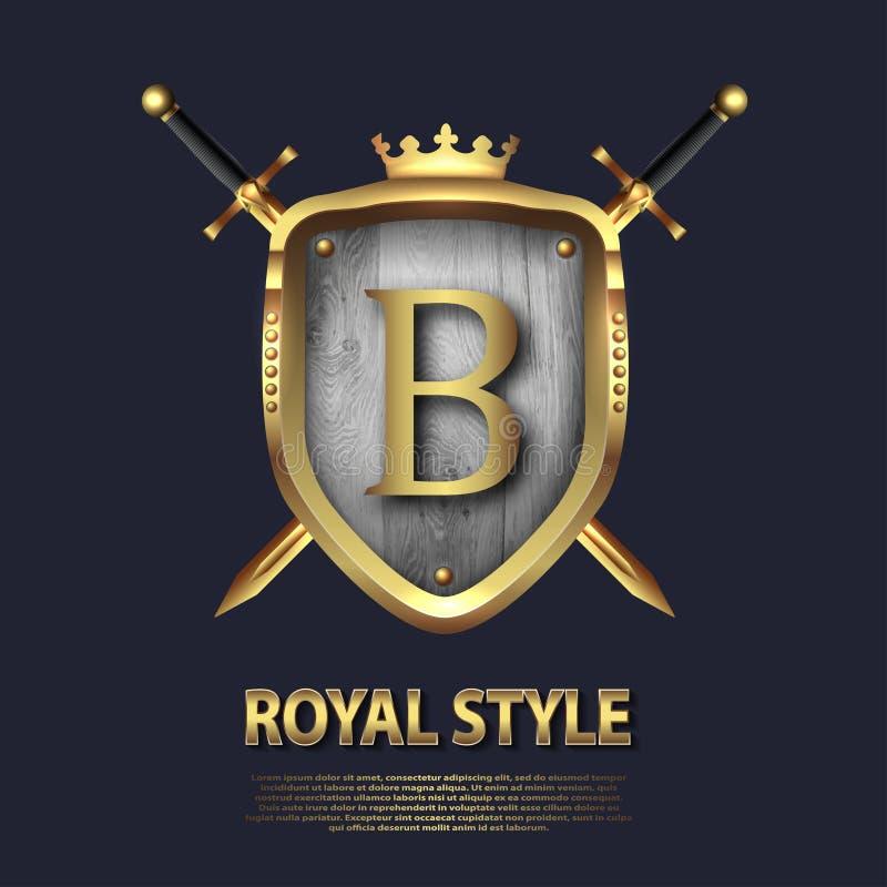 Dos cruzaron las espadas y el escudo con la corona y la letra B Dise?o de letra en el color oro para las aplicaciones como s?mbol libre illustration