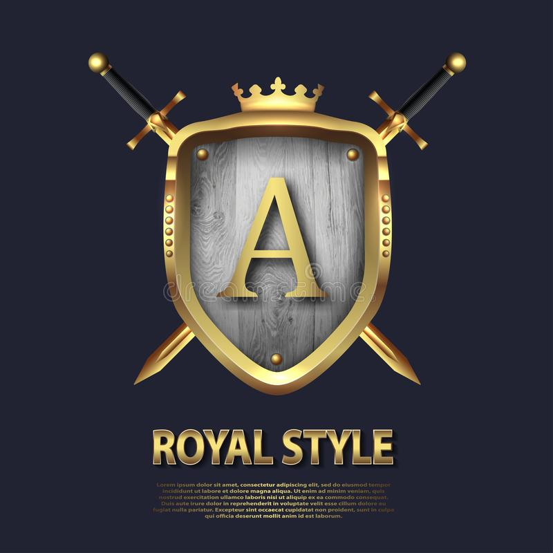 Dos cruzaron las espadas y el escudo con la corona y la letra A Dise?o de letra en el color oro para las aplicaciones como s?mbol ilustración del vector