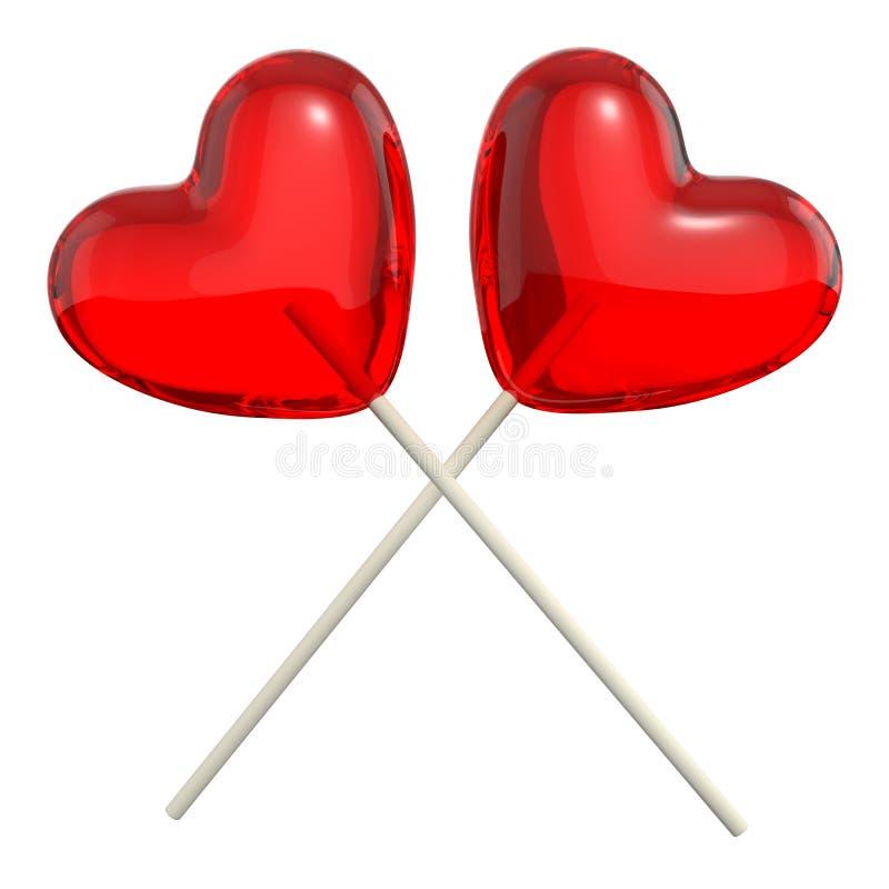 Dos cruzaron los lollipops en forma de corazón ilustración del vector