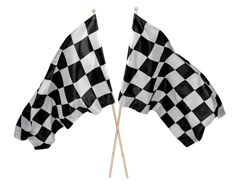 Dos cruzaron pares de agitar la bandera a cuadros blanca negra con el deporte de madera del motorsport del palillo que competía c foto de archivo