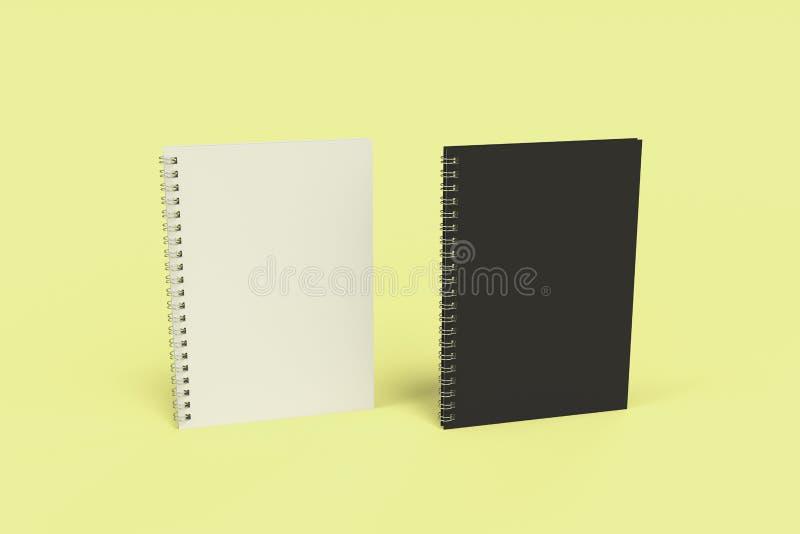 Dos cuadernos con espiral - limite en fondo amarillo libre illustration