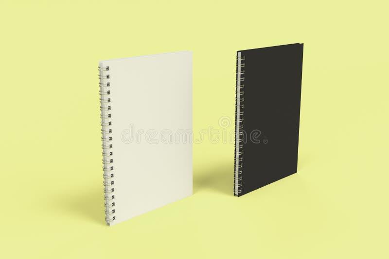 Dos cuadernos con espiral - limite en fondo amarillo ilustración del vector
