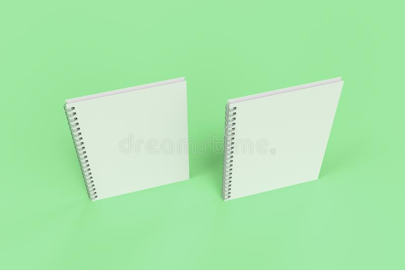 Dos cuadernos con espiral - limite en fondo verde libre illustration