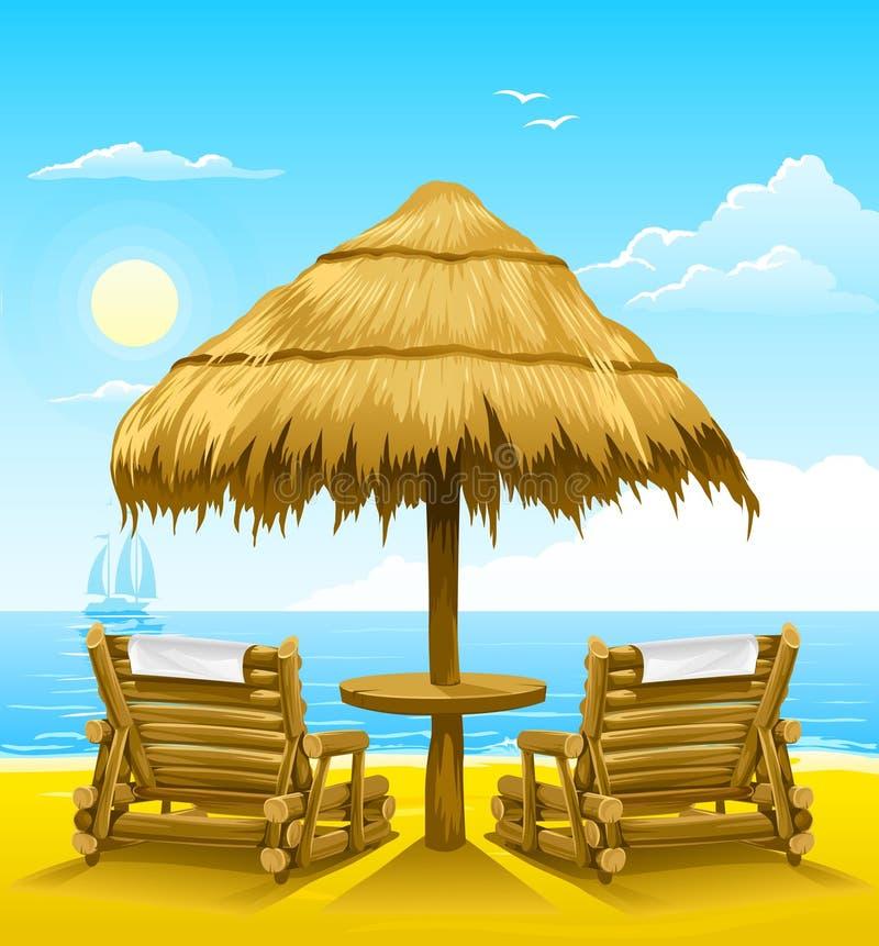 Dos cubierta-sillas de la playa bajo el paraguas de madera ilustración del vector