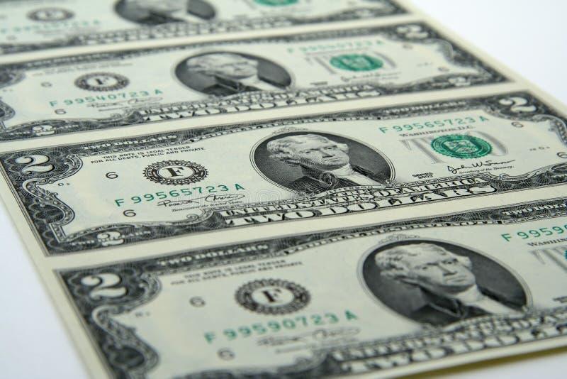 Dos Cuentas De Dólar Sin Cortar Imagen de archivo