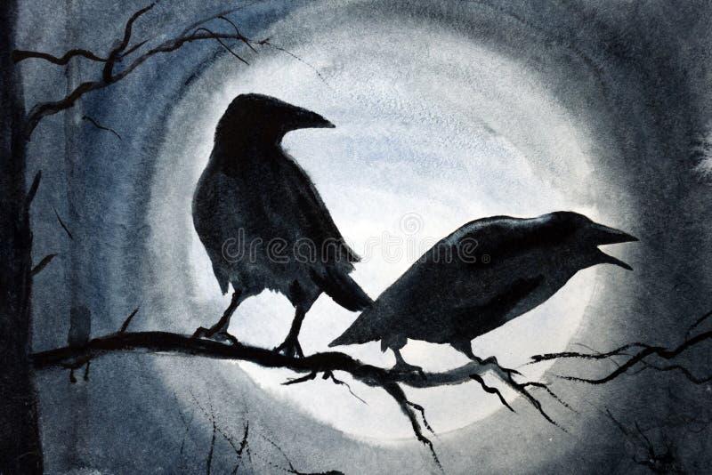 Dos cuervos negros en una rama libre illustration