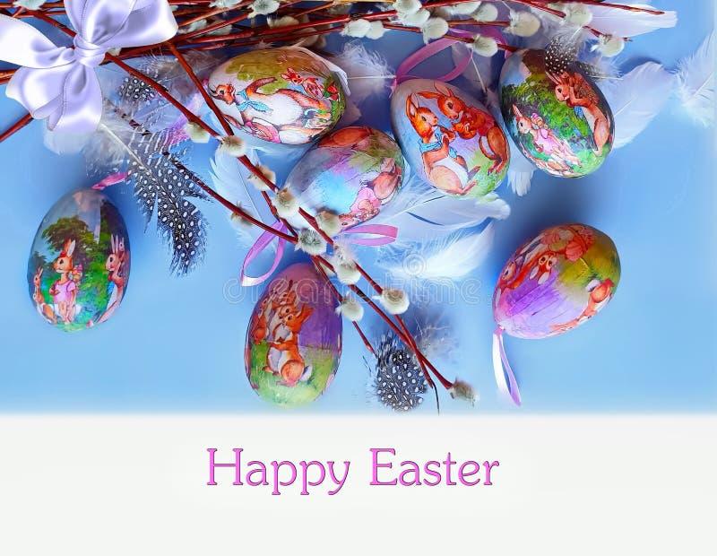 Dos cumprimentos azuis da ilustração da árvore de salgueiro dos ovos da páscoa projeto azul do feriado do tema do fundo fotografia de stock royalty free