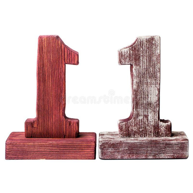 Dos dígitos uno de madera fotos de archivo
