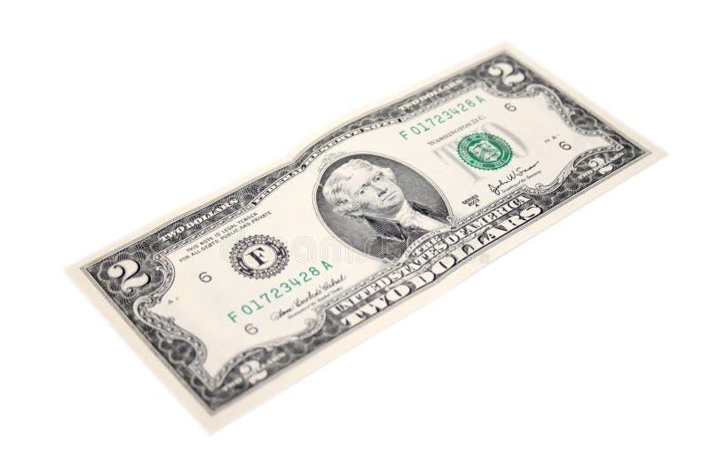 Dos dólares de cuenta fotografía de archivo libre de regalías