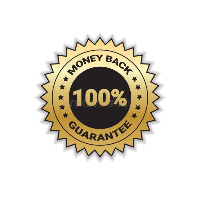 Dos d'argent avec la garantie timbre d'or d'insigne de 100 pour cent d'isolement illustration de vecteur