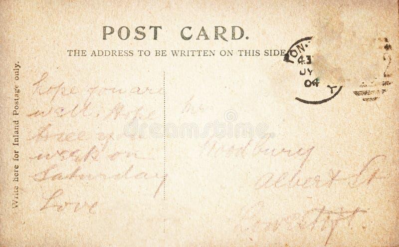 Dos de carte postale de vintage avec manuscrit image stock