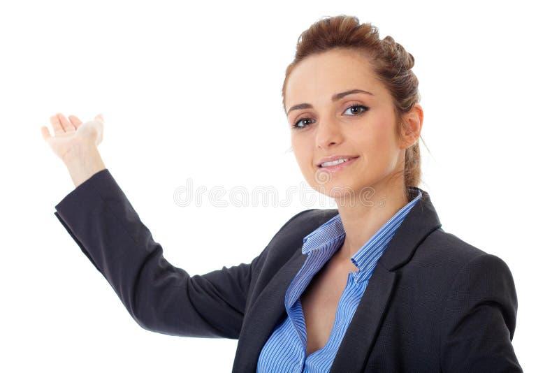 Dos de point de femme d'affaires avec sa main, d'isolement images libres de droits
