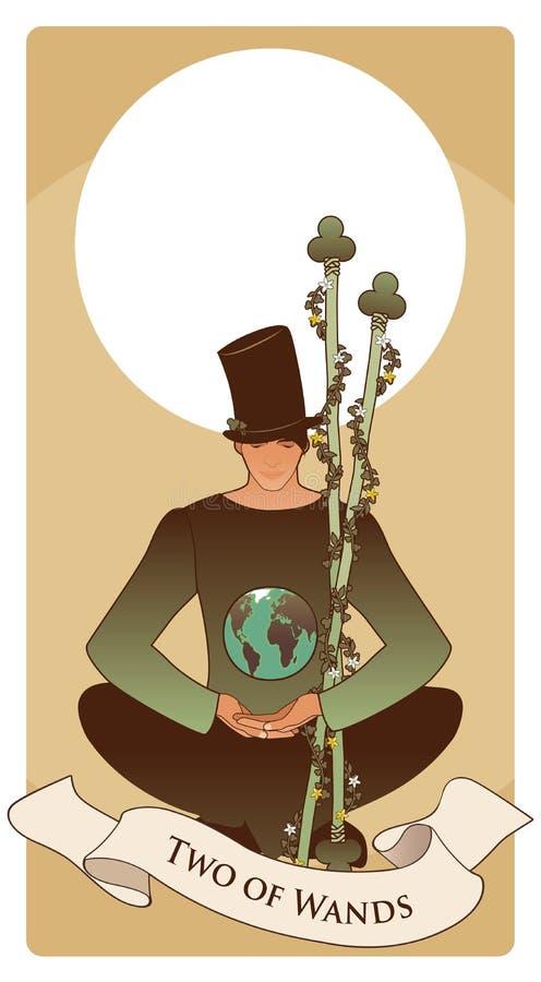 Dos de varas Tarjetas de Tarot Sentada del hombre joven, sombrero que lleva que mira un globo ilustración del vector
