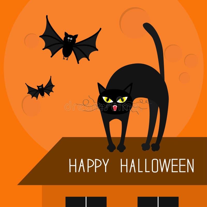 Dos de voûte de chat Kitty sur le toit Yeux jaunes, crocs, favori de boucle 'bat' de vol Carte heureuse de Veille de la toussaint illustration stock