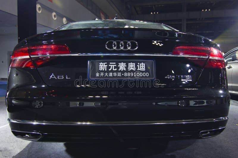 Dos de voiture d'Audi A8L d'†de salon de l'Auto» images stock
