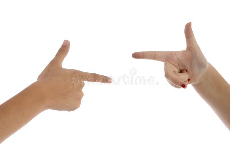 Dos dedos que se señalan imagen de archivo