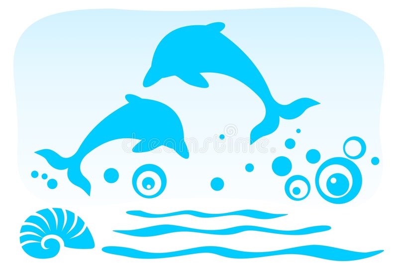 Dos delfínes stock de ilustración
