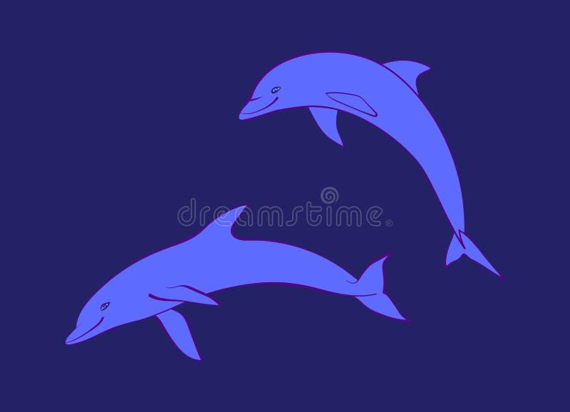 Dos delfínes amistosos azules Ejemplo animal marino lindo de la historieta del vector, aislado en fondo azul marino ilustración del vector