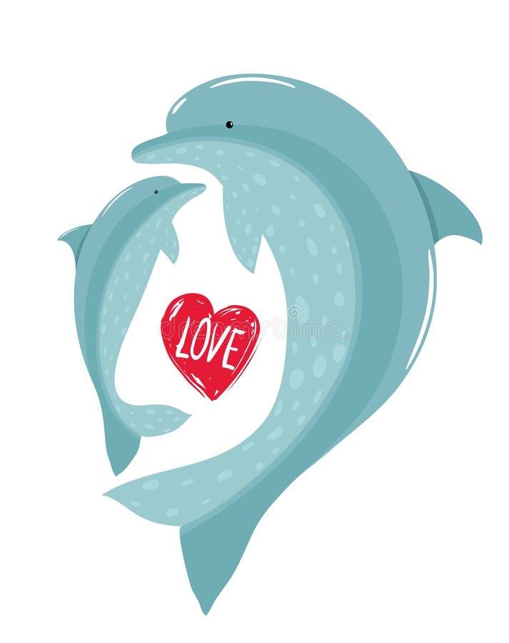 Dos delfínes madre y amor del niño stock de ilustración
