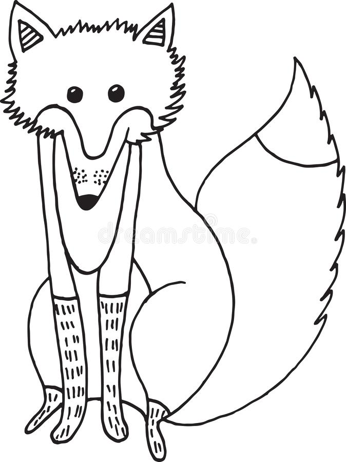 Dos desenhos animados animais da garatuja da raposa da floresta ilustração simples ilustração stock