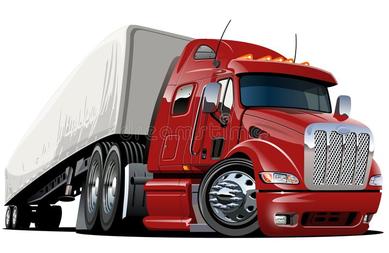 Dos desenhos animados da carga caminhão semi ilustração royalty free