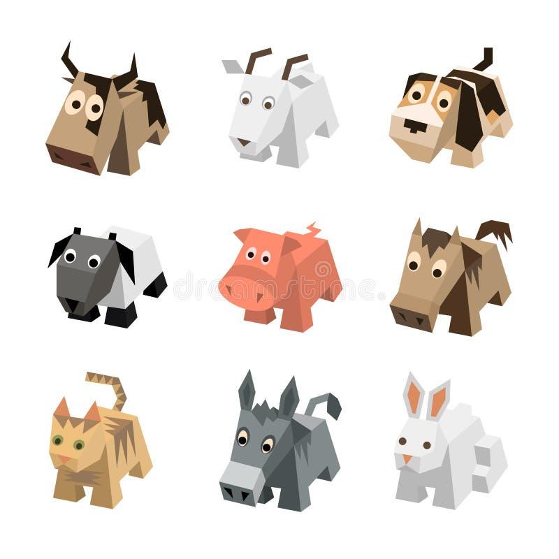 Dos desenhos animados diferentes ajustados do sf do vetor animais 3d isométricos ilustração do vetor