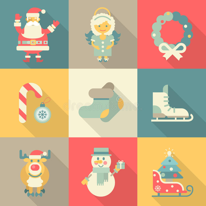Dos desenhos animados lisos ajustados do estilo do ícone do ano novo do Natal anjo engraçado de Santa ilustração stock